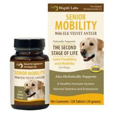 Wapiti Labs - Senior Mobility for Dogs Senior Mobility Pet Supplement for Dogs With ELK VELVET ANTLER and Additional Ginseng Helps support joint flexibility and mobility for dogs in the second stage of life. As pets age, they need additional support for their joint, kidneys and immune system. Using the same natural blend of Elk Velvet Antler and traditional hebs found in Wapiti Labs Mobility formula, Senior Mobility has been reformulated specially for the Senior Dog.