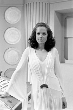 Actress Mary Tamm, the latest to team up with Dr Who (Tom Baker), in the long running BBC TV series. Mary plays Romana, a Time Lady.