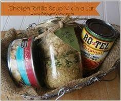 Chicken Tortilla Soup Mix in a Jar Gifts in a jar are great to give to those on your Christmas list. Everyone loves getting them, and it helps you to not overspend on Christmas. Dry Soup Mix, Soup Mixes, Spice Mixes, Jar Gifts, Food Gifts, Gift Jars, Mason Jar Mixes, Mason Jars, Canning Recipes