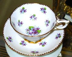 "Royal Stafford PURPLE VIOLETS CHINTZ Tea Cup and Saucer ""Sweet Violets"" pattern"