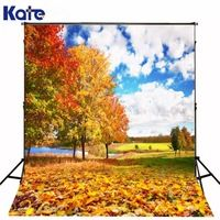 300*200Cm(10Ft*6.5Ft) Scenic Lake Maple Forest Photography Backdrops Scenic Photography Backdrops