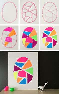 be crafty . geometric easter egg art - 彥翎 張 - Ich Folge Easter Arts And Crafts, Easter Crafts For Kids, Spring Crafts, Preschool Crafts, Holiday Crafts, Fun Crafts, Paper Crafts, At Home Crafts For Kids, Nursing Home Crafts
