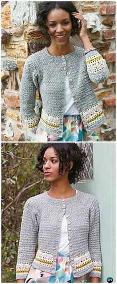 Crochet Crew Neck Stripe Cardigan Free Pattern - Crochet Women Sweater Coat-Cardigan Free Patterns