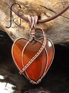 "Copper Woven Heart Pendant, Bruneau Jasper Gemstone, Antiqued Copper, 18"" Brown Leather Necklace, Natural Gemstone, Handcrafted Artisan USA by FKJewelryDesigns on Etsy"