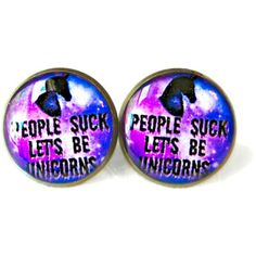 Galaxy people suck let's be unicorns Stud Earrings Pastel Goth Soft Grunge Funny Pop Culture Jewelry