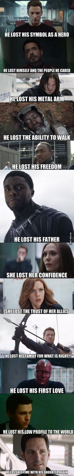 """I could give less than a flip about Wanda's confidence and Clint didn't lose his family for what is """"right"""". But I guess the rest are accurate"""