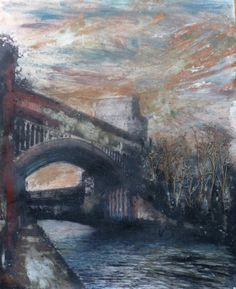 Exhibition - STREET TALK - The Mancunian Way - July 2013.  Tim Garner - Castlefield Series - Bridge with Trees - £1100. Earthy colours mix with blues and greys along side a palette of grit, sand and cement to create this dramatic photo mixed media painting of Manchester: http://www.artzu.co.uk/artist/Tim-Garner/castlefield-series-bridge-with-trees/