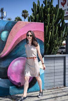 Converse sneakers look with knit dress. Los Angeles street style. @escorpionstudio Dress