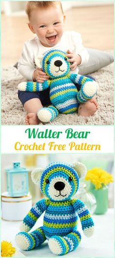 Amigurumi Crochet Walter Bear Free Pattern - Amigurumi Crochet Teddy Bear Toys Free Patterns