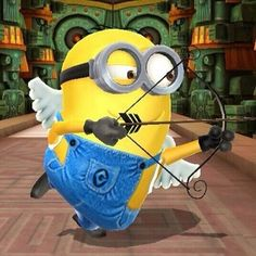 Cupid Minion taking aim. Cupid Minion taking aim. Cupid Minion taking aim. Minion Rock, Cute Minions, Minions Despicable Me, My Minion, Minions 2014, Minions Images, Minion Pictures, Minions Quotes, Minions Pics
