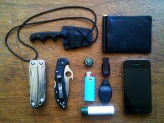 CRKT••Minimalist BowieNeck Knife + Slim Fine••Leather Wallet + Leatherman••Wingman + Spyderco••Delica 4 Emerson••Wave Opener + Button••Compass + Bic••Mini Lighter + SanDisk••Cruzer Blade 32GB Flash Drive + Nite Ize••Micro Light STS + Natural••Lip Balm + iPhone 4