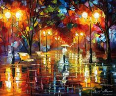 Evening stroll by Leonid Afremov by Leonidafremov (print image)