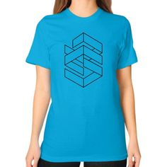 Enigmatic Lines (On Light) Unisex T-Shirt (on woman)