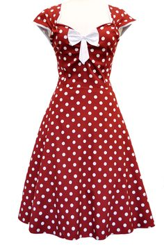 Red Wineis a pretty Rockabilly Dress withwhite polkadotsupon wine redcotton. This rockabilly dress features a flattering sweetheart neckline and capped sleeves with white trim. Vintage Dresses 50s, Vestidos Vintage, Retro Dress, Vintage Outfits, 1950s Dresses, 1950s Fashion Dresses, Rockabilly Fashion, Retro Fashion, Vintage Fashion