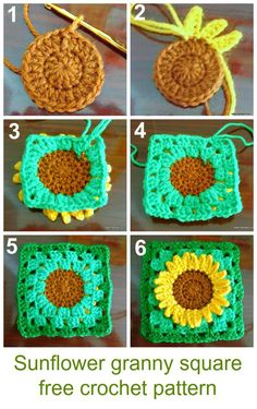 how to crochet sunflower granny square #freecrochetpattern #grannysquare