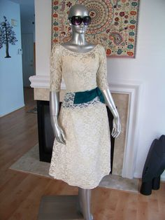 vintage 50's lace green sash sleeves tea length wedding dress $16