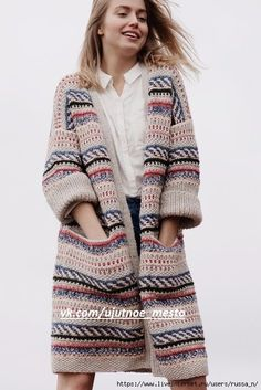 Free Knitting Pattern for a Color Work Cardigan for Women. Free Knitting Pattern for a Color Work Cardigan for Women. , Free Knitting Pattern for a Women& Color Work Cardigan. Crochet Jacket, Knit Jacket, Crochet Cardigan, Cardigan Pattern, Jacket Pattern, Knitting Patterns Free, Baby Knitting, Free Pattern, Crochet Patterns