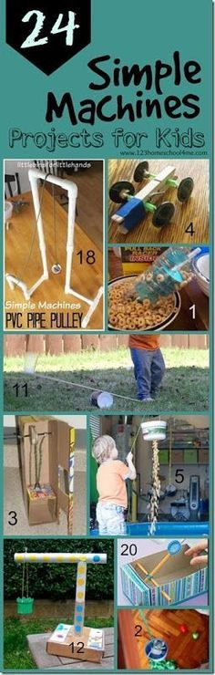 24 Simple Machines projects for kids - so many clever, fun, and unique science experiments to explore simple machines for classroom, science project, and homeschool for kindergarten, first grade, second grade, third grade, fourth grade, and fifth grade. PLUS love the 5 week unit diving more in depth along with free printable simple machine worksheets for kids!!