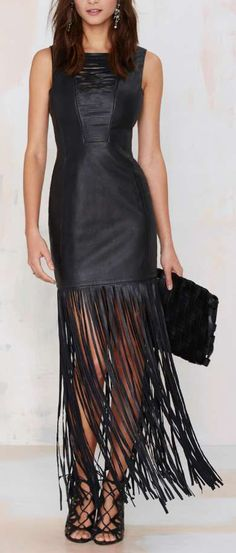 Fringe Leather Dress ==