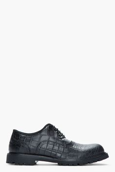 NEIL BARRETT Matte black leather reptile-embossed brogues
