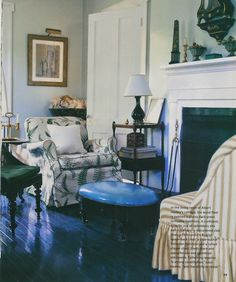 I like the colored stained and polished wood floors.  For me, it's green, but this blue is very handsome too