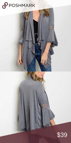 """❗1-DAY SALE❗Bell Sleeve Gray Open Cardigan 3/4 bell sleeve lace trim detail open front jersey cardigan. Made of Rayon/ spandex blend. Measurements for small Length: 25"""" Bust: 42"""". Bchic Sweaters Cardigans"""