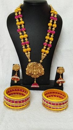 Yellow and Pink Color with Antique Pendant Silk Thread Jewellery Set Silk Thread Jumkas, Silk Thread Bangles Design, Silk Thread Necklace, Thread Jewellery, Handmade Jewellery, Indian Jewelry Earrings, Ethnic Jewelry, Terracota Jewellery, Golden Jewelry