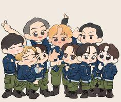 Exo Cartoon, Cartoon Jokes, Exo Anime, Exo Album, Exo Fan Art, Kdrama Actors, Exo Members, Kyungsoo, Taemin