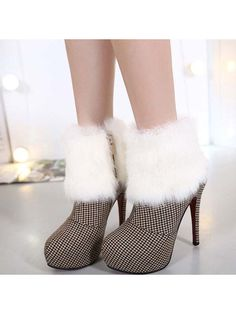 Casual White Plaid Cloth Boots