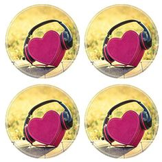 Liili Natural Rubber Round Coasters Image ID 33709862 Headphones with red heart love music vintage retro