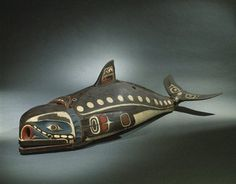 """19th century Kwakwaka'wakw (First Nations) Baleen whale mask at the Brooklyn Museum - From the curators' comments: """"Masks like this are owned by a particular person who has inherited the rights to make, wear, and perform with it during potlatch ceremonies, elaborate communal celebrations. The mask is worn along the dancer's back while he imitates the swimming and diving of the whale by manipulating cords to move the flippers, tail, and jaw."""""""
