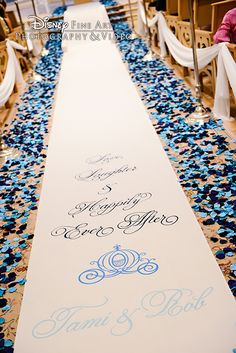 Dark blue and light blue petals line the aisle at Disney's Wedding Pavilion
