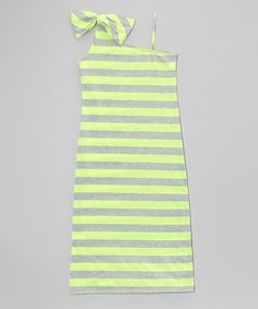 Neon Green One-Shoulder Stripe Maxi Dress - Girls