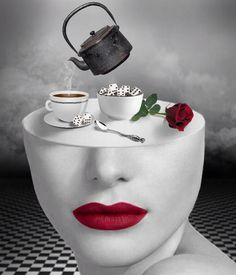 coffee-break – Lora Vysotskaya Bazaart – Famous Last Words Coffee Love, Coffee Art, Coffee Break, Surreal Artwork, Black Art Pictures, Beautiful Pictures, Good Morning Coffee, Fashion Wall Art, Inspirational Artwork
