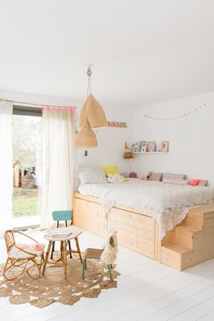 An Eclectic home in Biarritz, France - French By Design Wooden Bedroom, Kids Room Design, Little Girl Rooms, Kid Spaces, Small Spaces, Kid Beds, Play Houses, Girls Bedroom, Bedroom Ideas