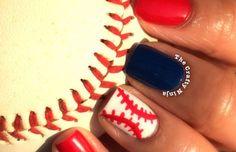 Red White Blue Baseball Nail Tutorial