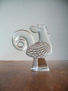 Vintage Kosta Boda cast glass Zoo Series rooster. Circa 1970's, design attributed to Bertil Vallien.