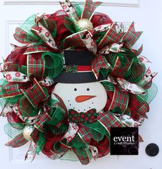 Excited to share this item from my shop: Buffalo Snowman Christmas Wreath for Front Door, Traditional Plaid Welcome Wreath, Holiday Ribbon Decor Diy Christmas Ribbon Wreath, Mason Jar Christmas Decorations, Mesh Ribbon Wreaths, Christmas Wreaths For Front Door, Wreath Crafts, Diy Wreath, Holiday Wreaths, Holiday Crafts, Winter Wreaths