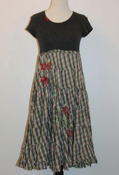 Boho Plaid Dress Prairie Baby DollCottage Chic Country