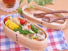 燻製玉子deポテサラとアスパラとスパムの炒飯