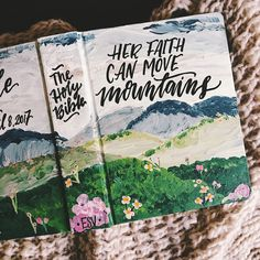 Hand painted bible cover, landscape bible art, scripture gift, bible journaling, personalized gifts, The Holy Bible, gifts for Christians by TheHipsterHousewife on Etsy https://www.etsy.com/listing/509744918/hand-painted-bible-cover-landscape-bible