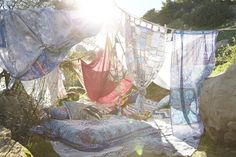 Urban Outfitters - Blog - UO DIY: Tapestry Tent for the backyard and serve the herbal sodas
