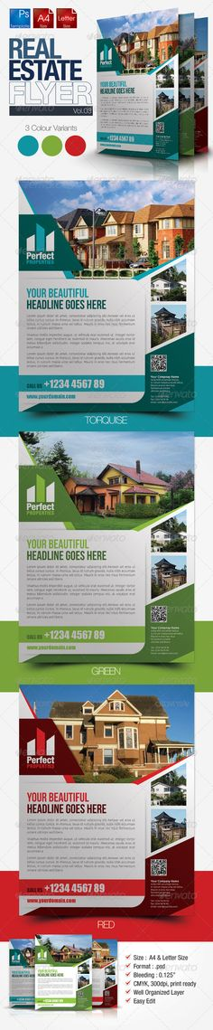 Simple Real Estate Flyer Vol.03 #GraphicRiver Simple and clean real estate flyer template suitable for real estate management agencies, properties agent and any real estate related businesses with easy editing. Colour : CMYK Files