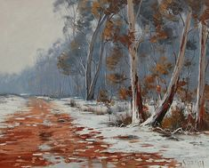 Winter Oil Painting Snow Gum Trees Landscape By by GerckenGallery