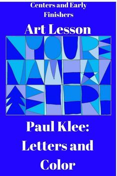 Drawing On Creativity This is an elementary art lesson based on Paul Klee's explorations into letters and colors. Easy and fun to do. Works great as a creative learning center activity. Kids will all be successful. Middle School Art, Art School, High School, Vincent Van Gogh, James Rizzi, Elementary Art Lesson Plans, Upper Elementary, Art Sub Plans, Paul Klee Art