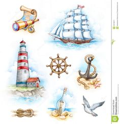 Nautical Watercolor Illustrations - Download From Over 67 Million High Quality Stock Photos, Images, Vectors. Sign up for FREE today. Image: 24218271