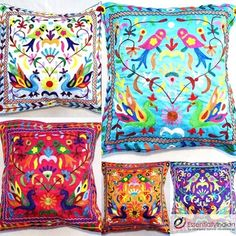 Floral pattern cushion covers - traditional - pillows - other metro - Essentially Indian - Handmade Home Furnishing