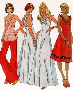 1970s Dress or Jumper McCalls 5564 with Low Neckline and Criss Cross Straps in Back Vintage 70s Sewing Pattern Size 12 Bust 34 UNCUT by sandritocat on Etsy