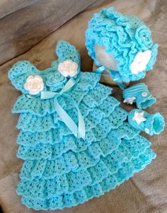 Baby Holiday Dress, Hat and Booties Set, Crochet Baby Dress Set, Baby Layers Dress Set. by Lensia