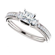 Three Stone Princess Cut Diamond Ring - Pave Set Diamonds - GIA Certified - Affordable Our Price:  $829.99